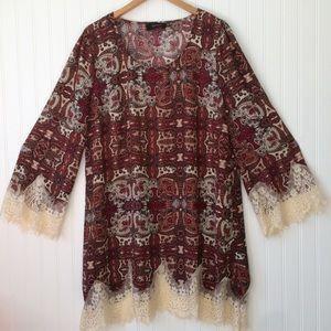 Perch By Blu Pepper Boho Lace Trim Dress Size 2X